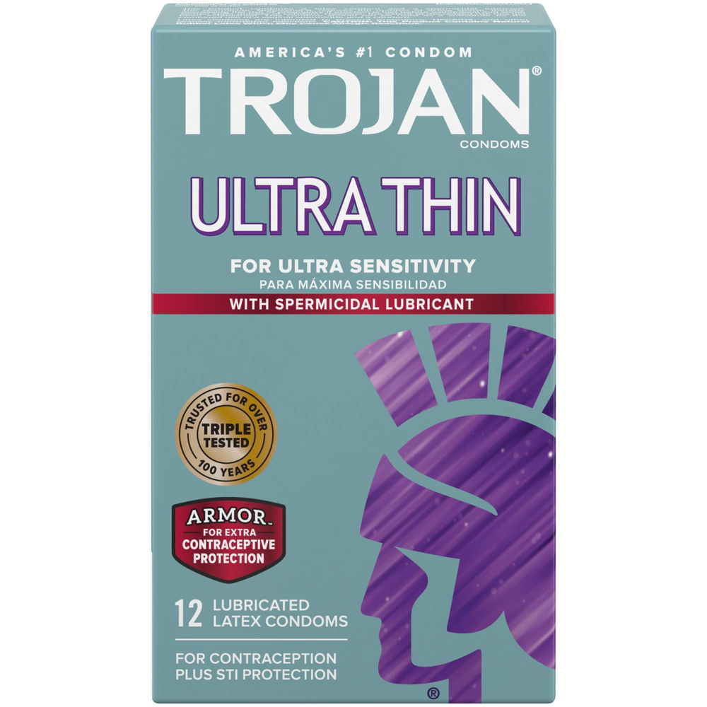 Image of Trojan Ultra Thin Spermicidal Lubricated Condoms 24-Pack