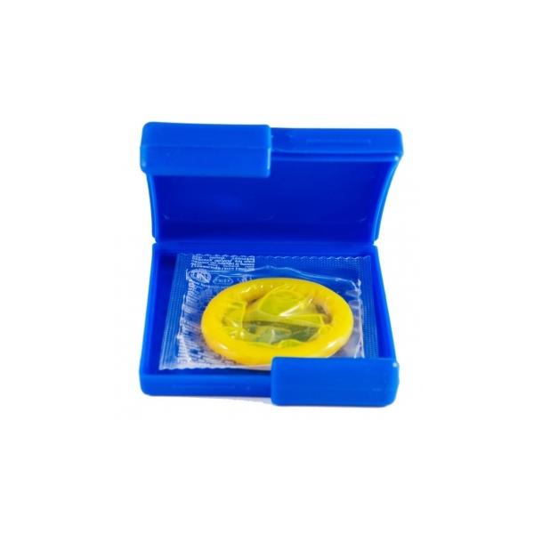 Image of Global Protection Blue Compact Condom Case
