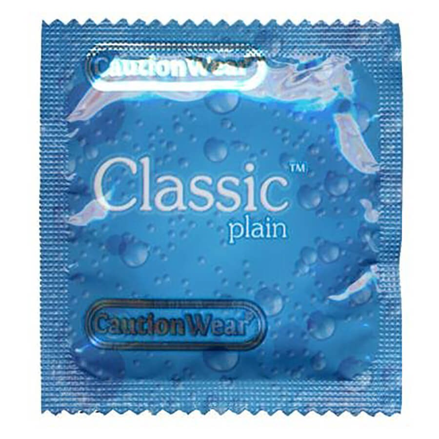 Image of Caution Wear Classic Plain Lubricated Condoms 100-Pack