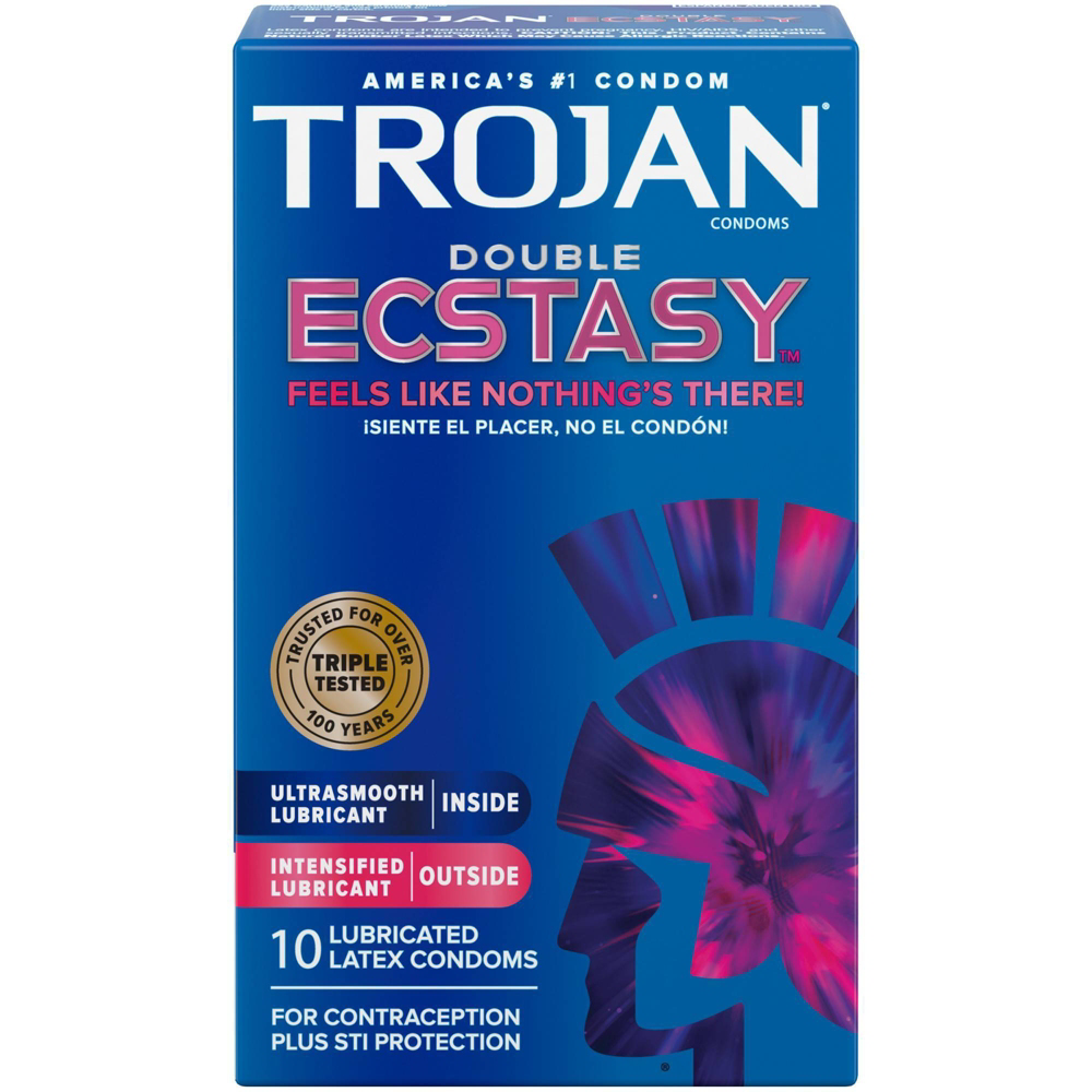 Image of Trojan Double Ecstasy Lubricated Condoms 30-Pack
