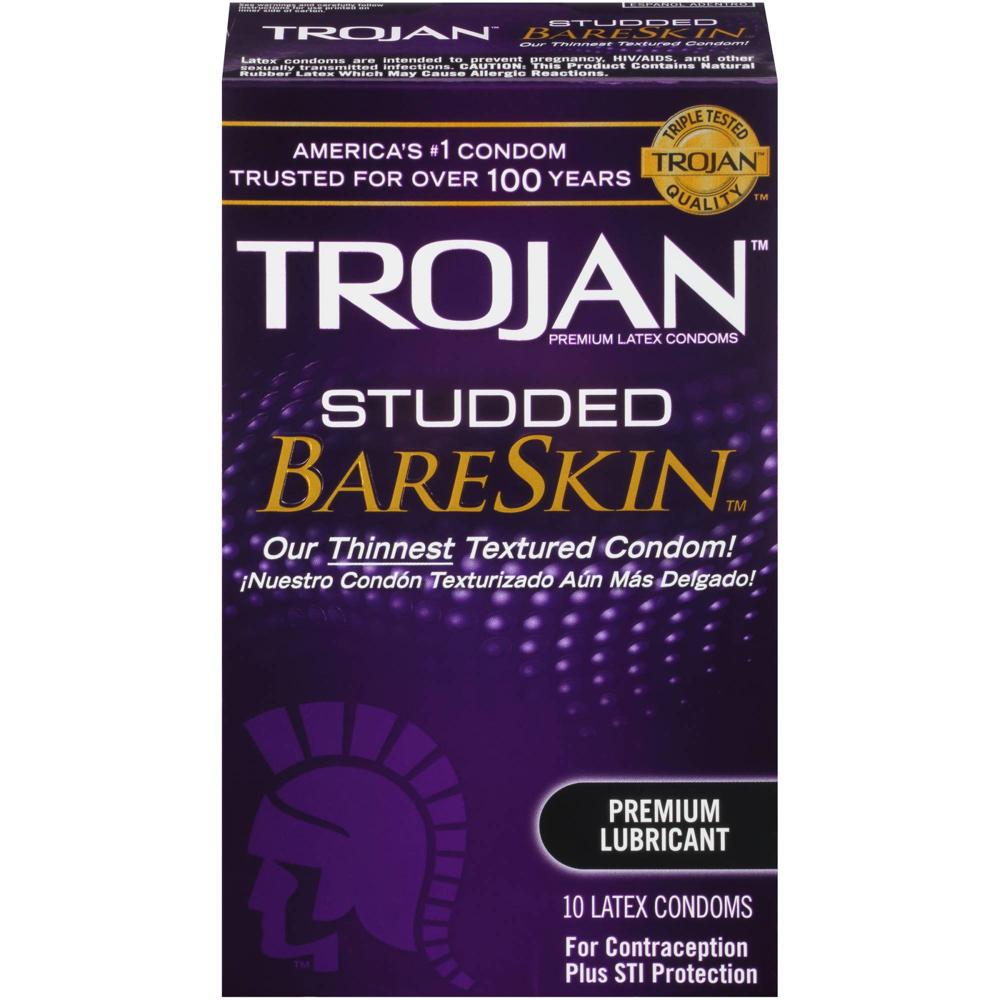 Image of Trojan Studded BareSkin Lubricated Condoms 100-Pack
